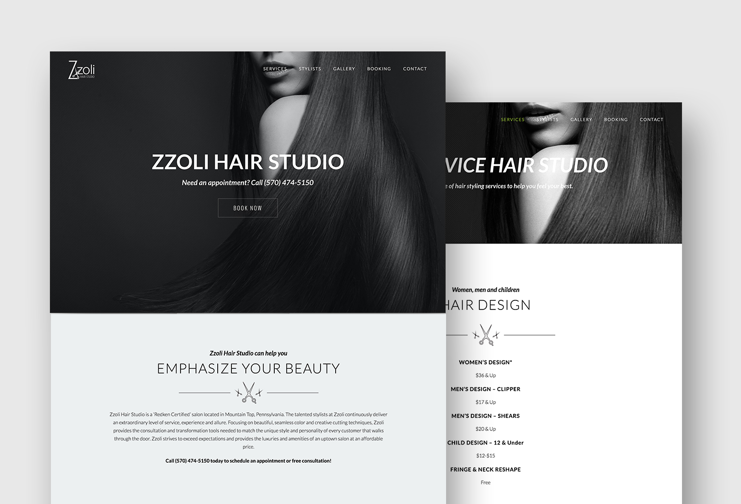 Website Design for Zzoli Hair Studio